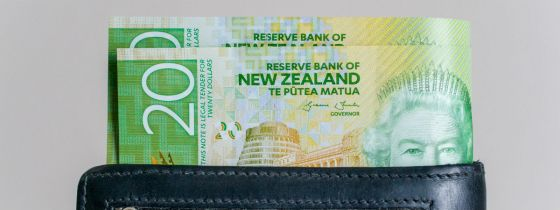 New Zealand money in a wallet