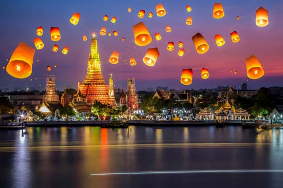 Grand Palace, under loy krathong day, Thailand