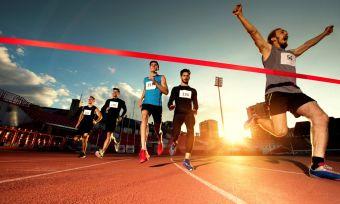 Successful athlete winning race great performance