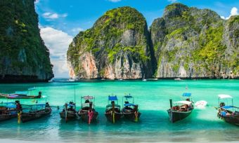 Maya Bay in Ko Phi Phi Le Island, Krabi Province of Thailand. South East Asia