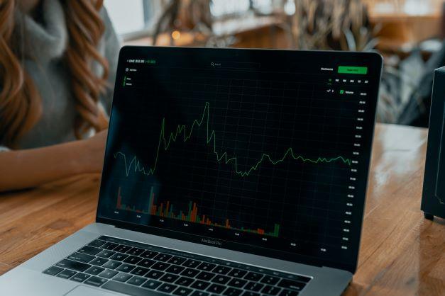 stocks on laptop screen