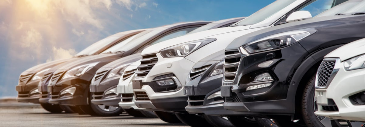 Line of new cars for sale