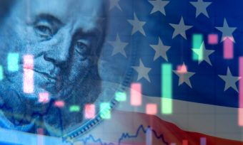 US Flag with stockmarket graphics