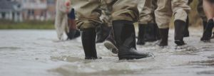 gumboots in flooded street