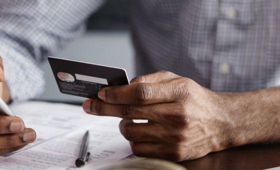 online banking: man on phone